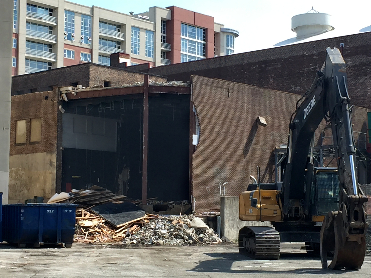 Demolition begins on the theatre area of George Street Playhouse's former downtown venue. A new performing arts center will be built on the site and serve as GSP's home beginning with the 2019-20 season.   (Photo: Brian Kelley/George Street Playhouse)