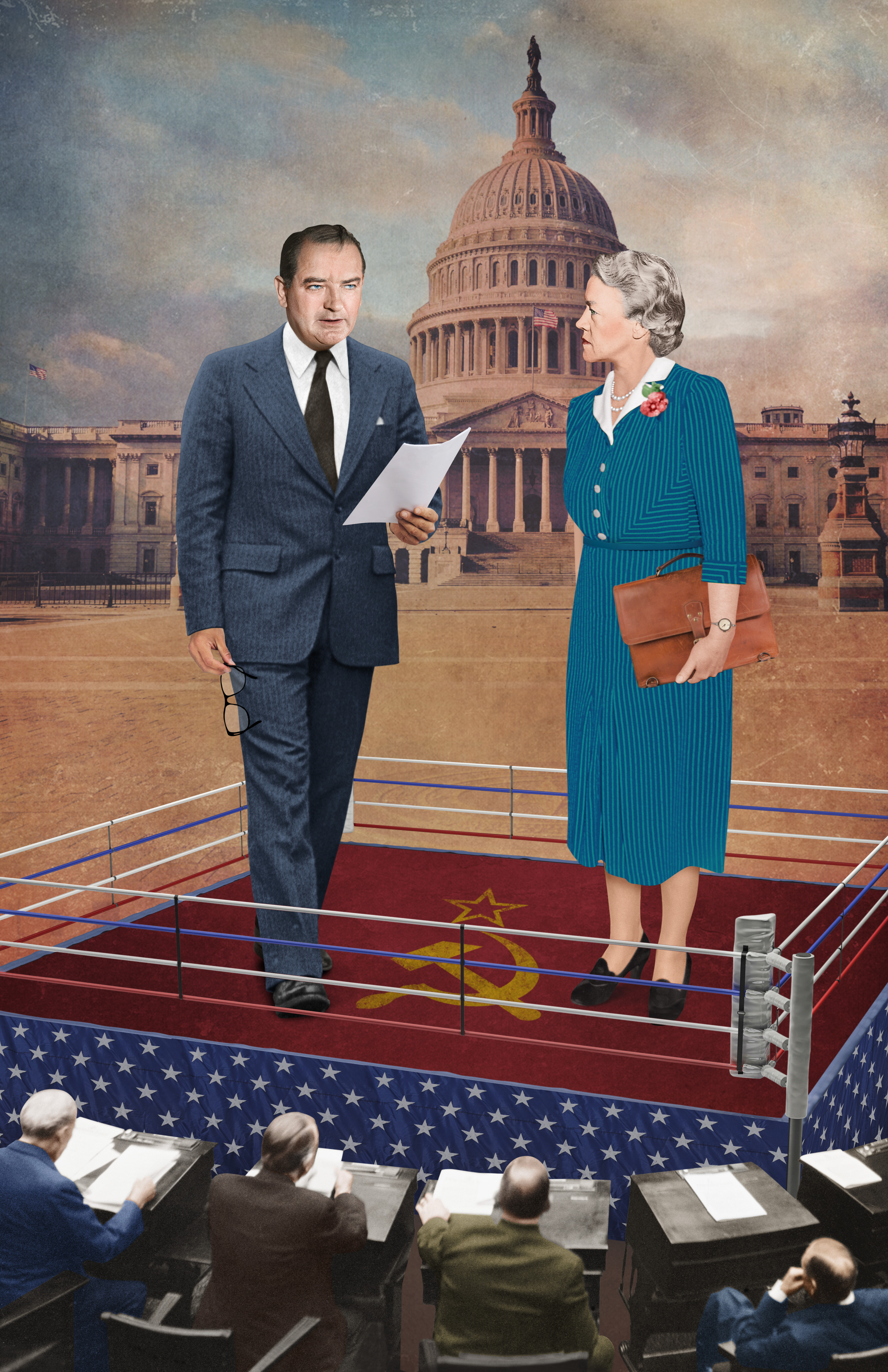 Conscience Artwork. Joseph McCarthy & Margaret Chase Smith Stand on a Boxing Rink before the Capitol Building.