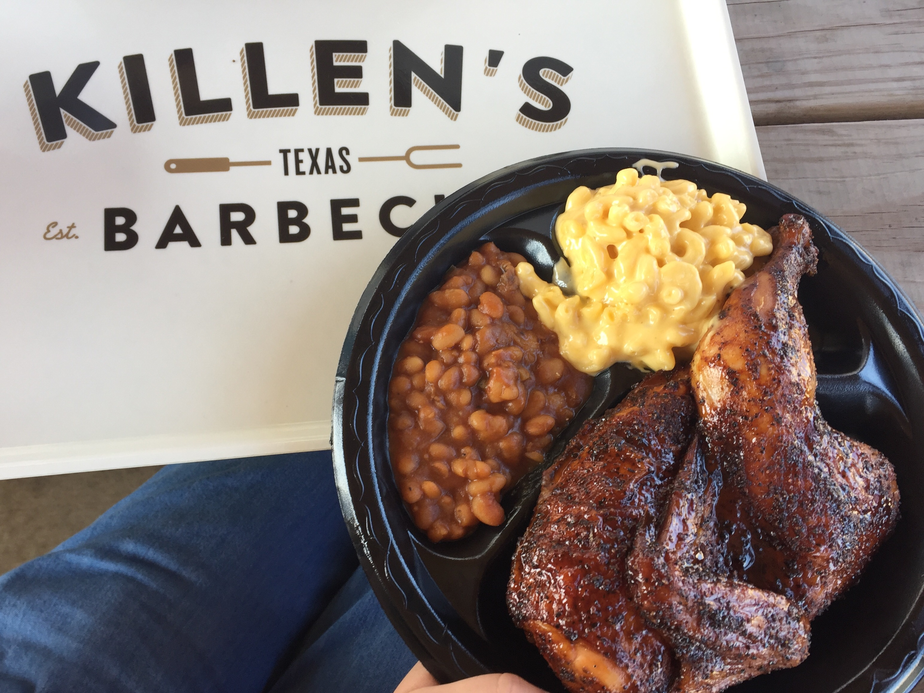 A delicious lunch from Killen's Barbecue!  On a scale of 1-10, I give this BBQ an 11!  Easily the best I've had since being in Houston.