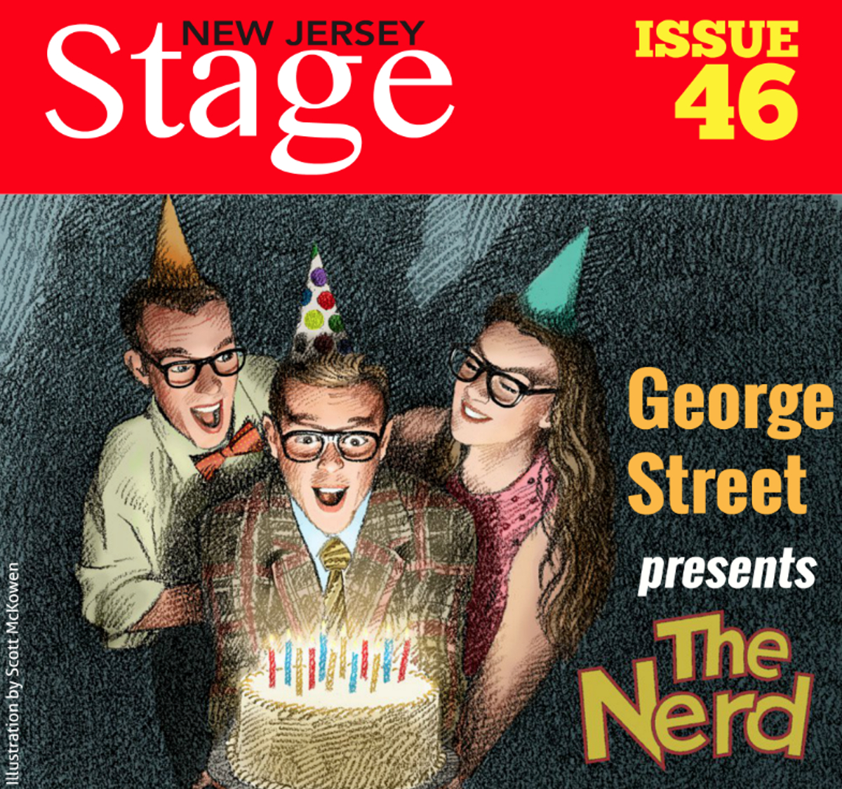 "New Jersey Stage Issue 46 cover featuring GSP's ""The Nerd"""