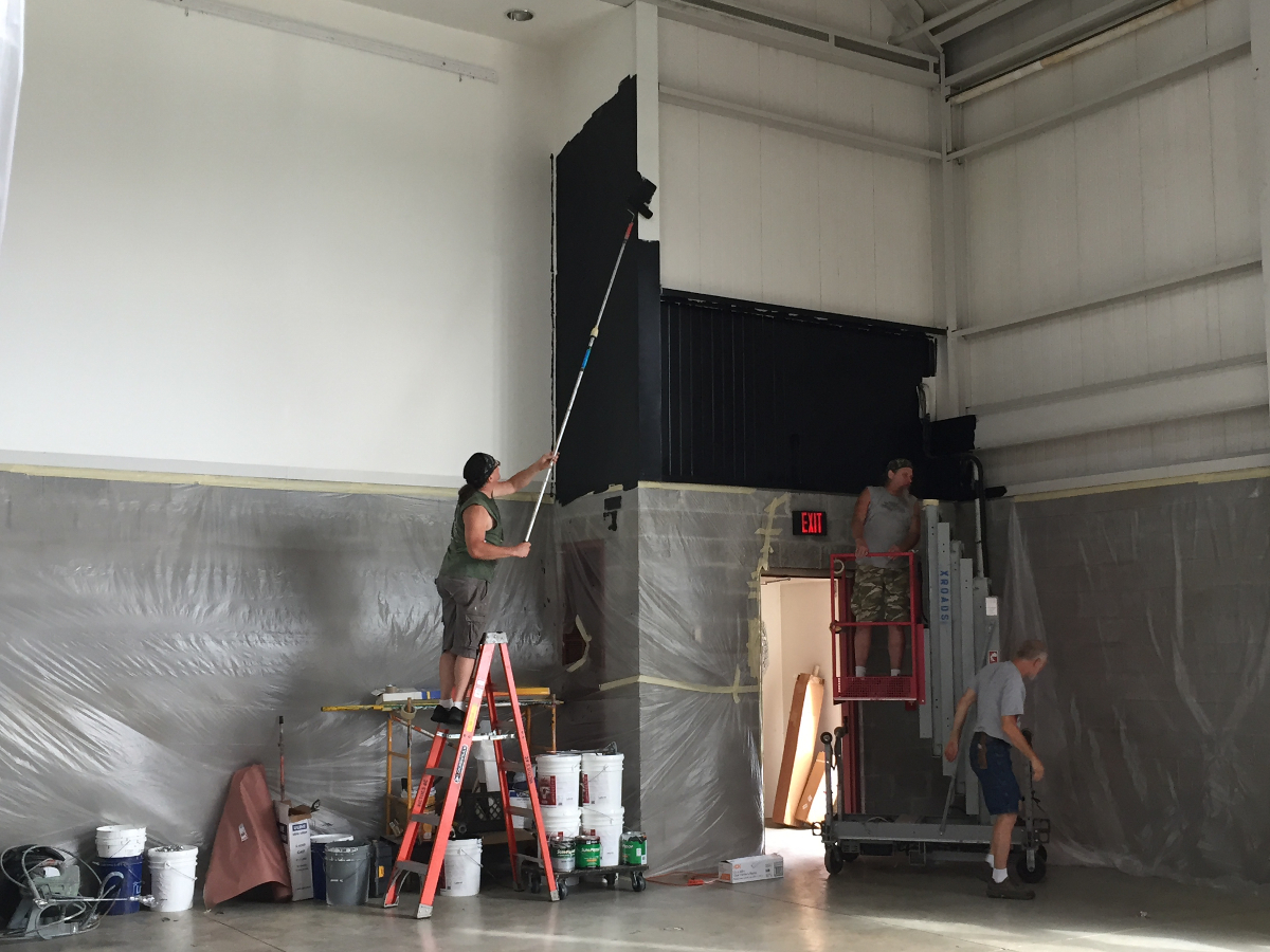 Painting of the theatre space begins at George Street Playhouse at 103 College Farm Road in New Brunswick, N.J.