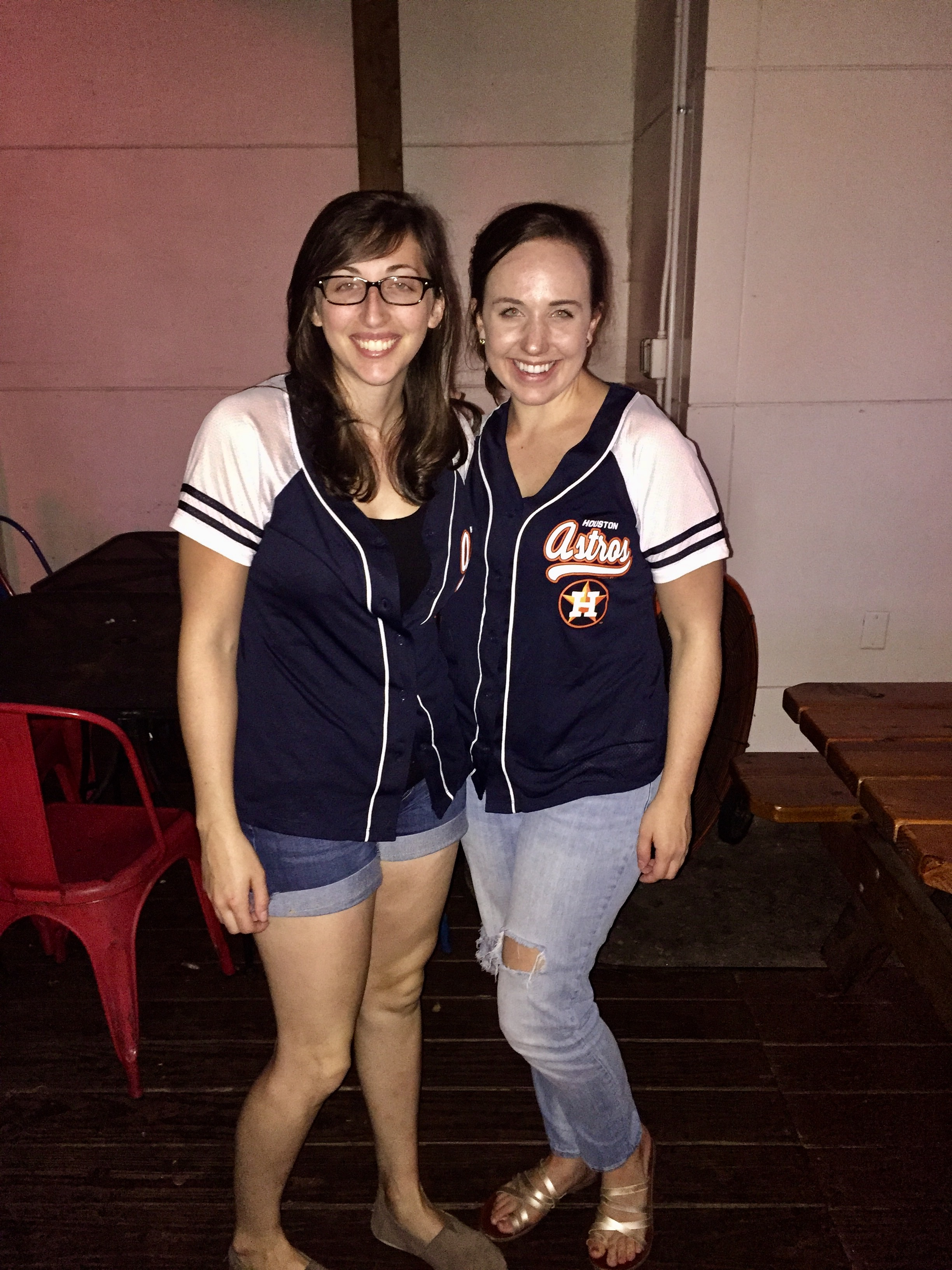 Erica and Carol cheer on the Astros in the new matching jerseys.  Next Stop - WORLD SERIES!