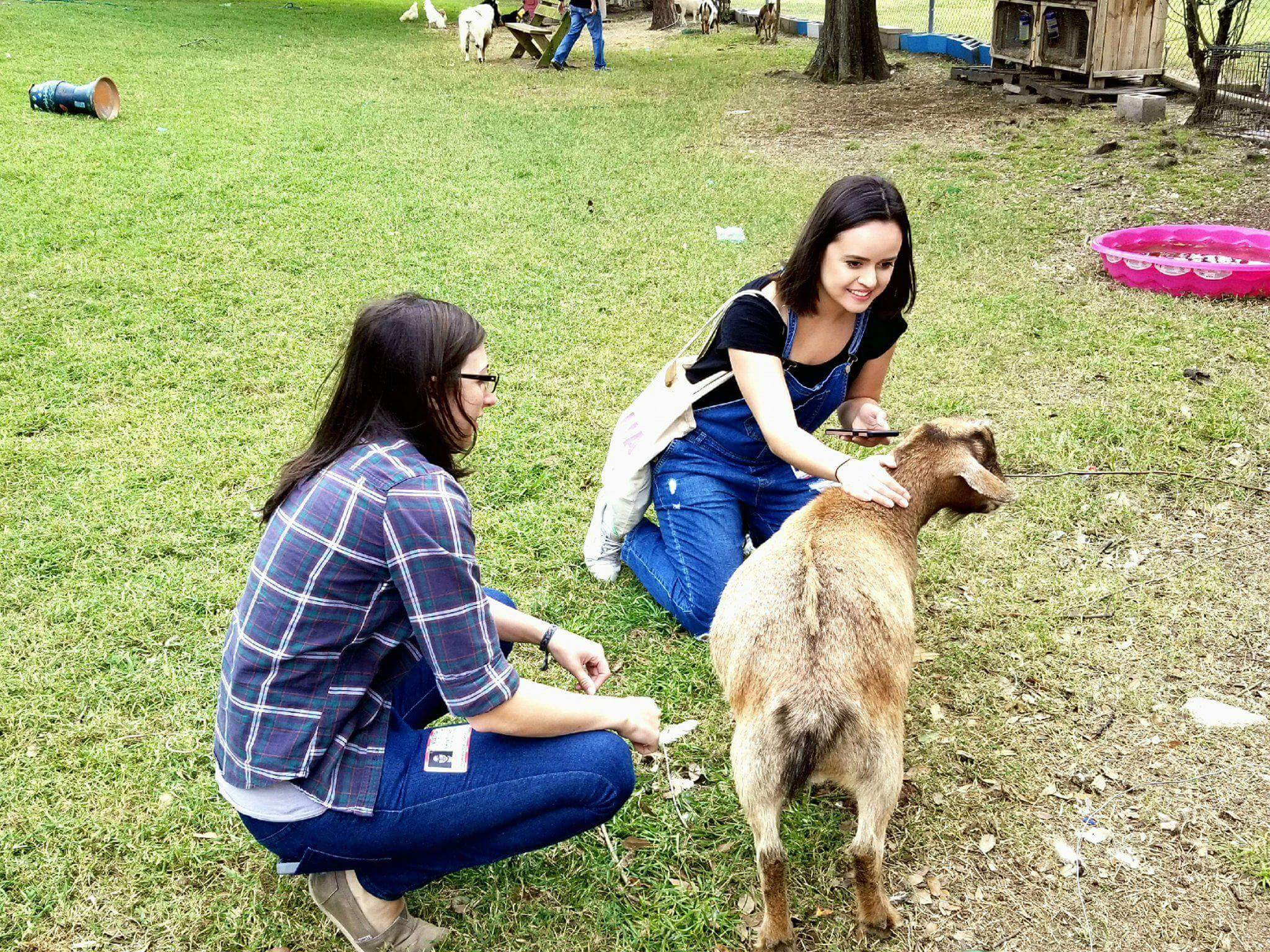 Erica Leigh and Katie Lugo introducing themselves to some wonderful kids — in this case, young goats.