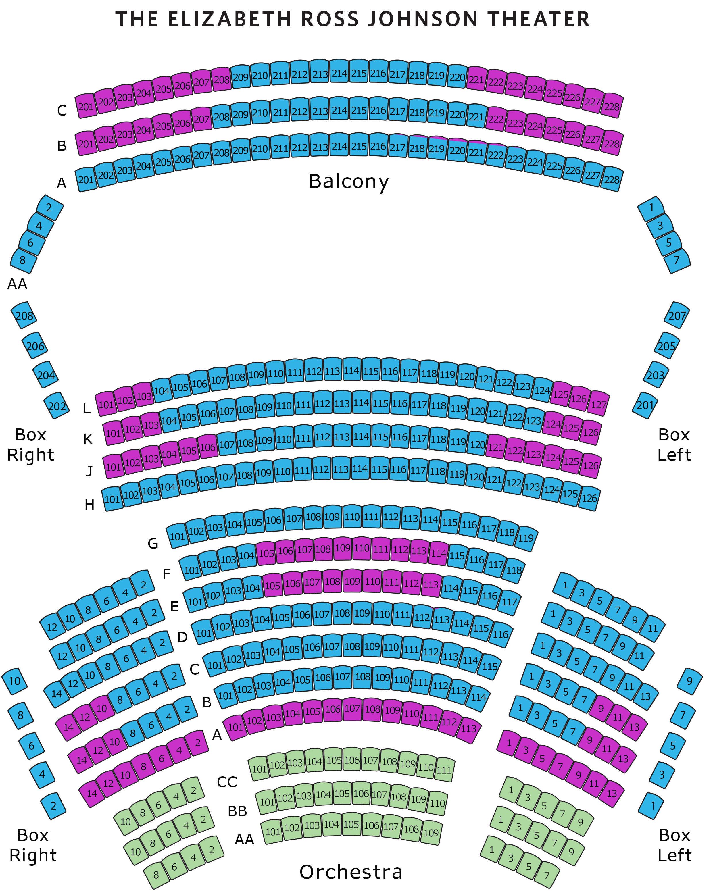 Elizabeth Ross Johnson Theater Map. Rows AA thru CC Front Orchestra. Rows A thru L Orchestra. Rows AA Box Right and Box Left. Rows A thru C Balcony.