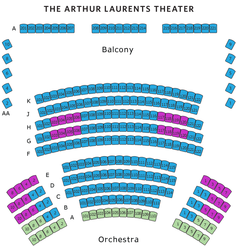 Arthur Laurents Theater Seating Map. Rows A-K Orchestra. Row AA Balcony.